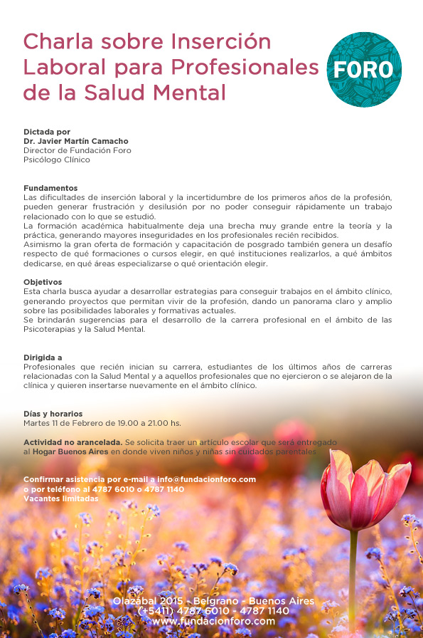 Charla sobre Inserción Laboral para profesionales de la Salud Mental